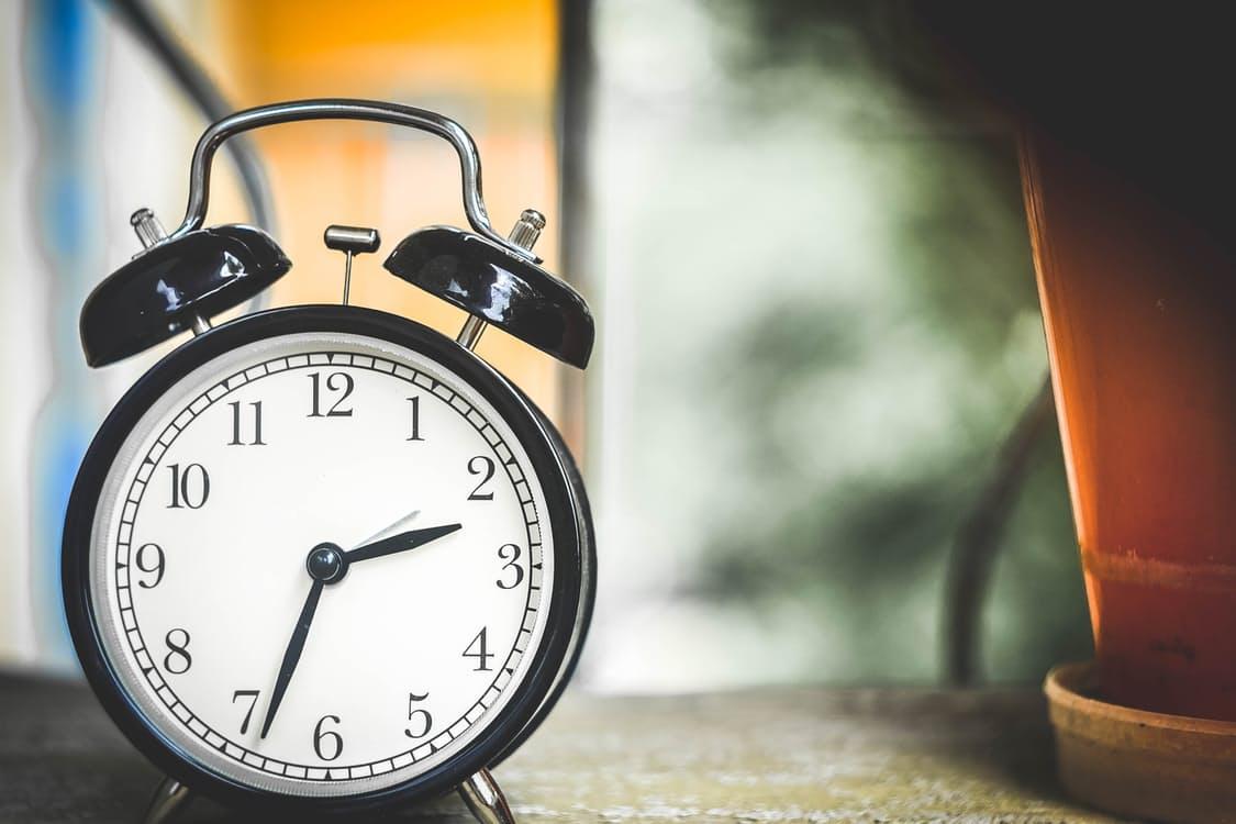 Alarm clock on table