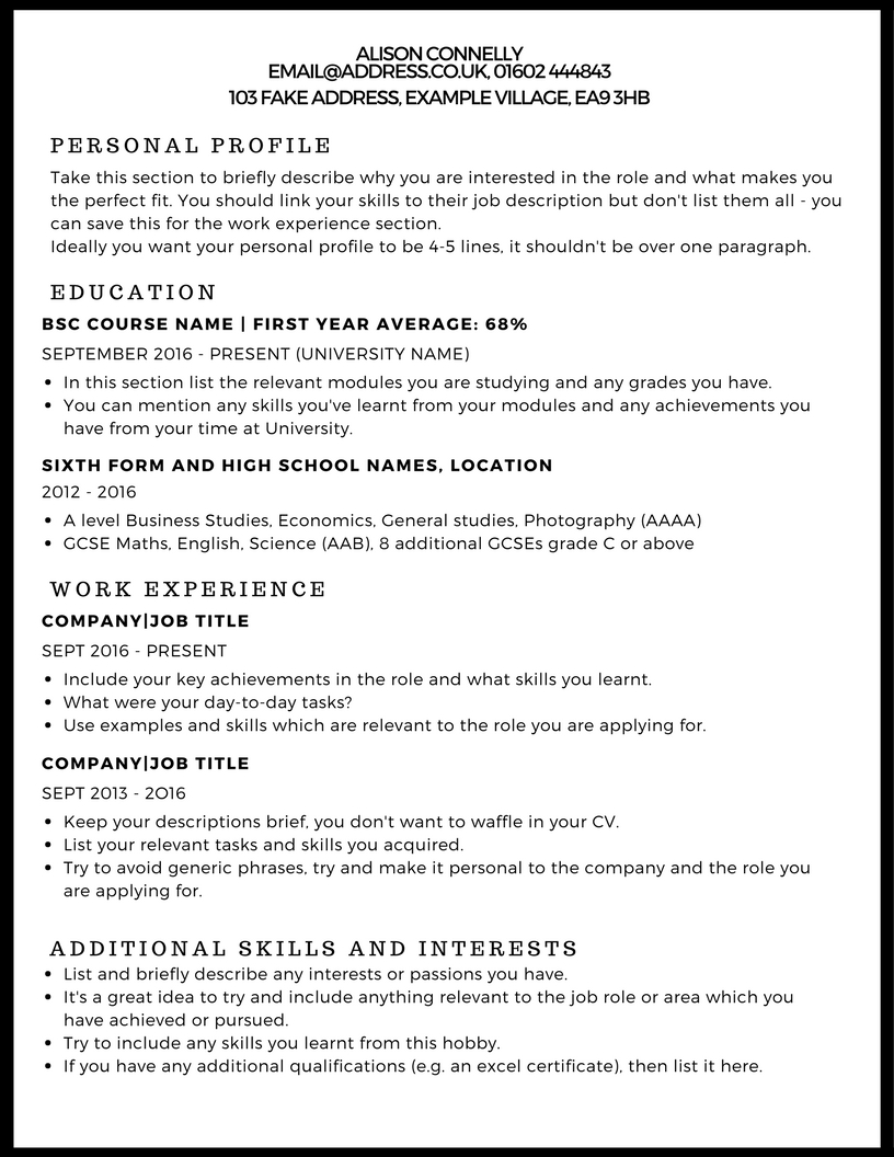 cv guide - Typical Curriculum Vitae