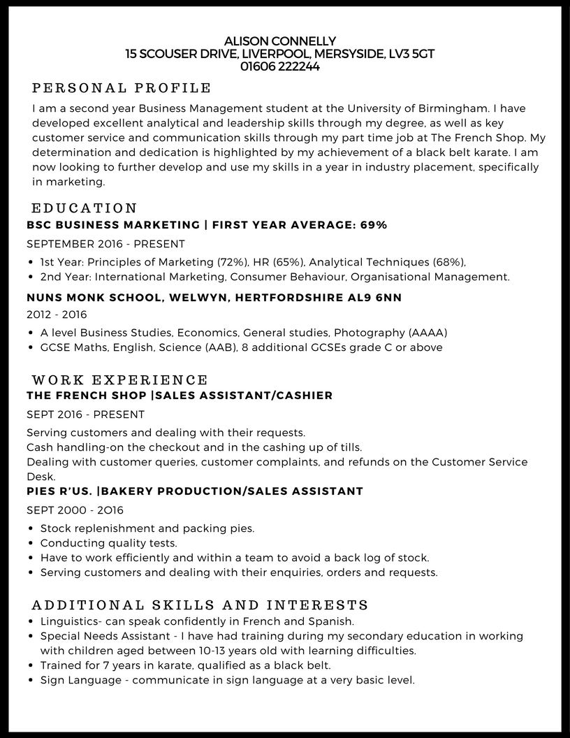 cv template part time jobs
