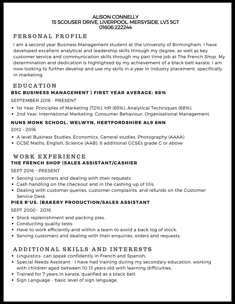 example cv for part time job thevillas co
