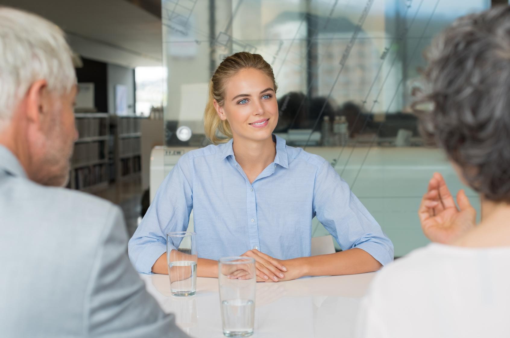 women in job interview conversation