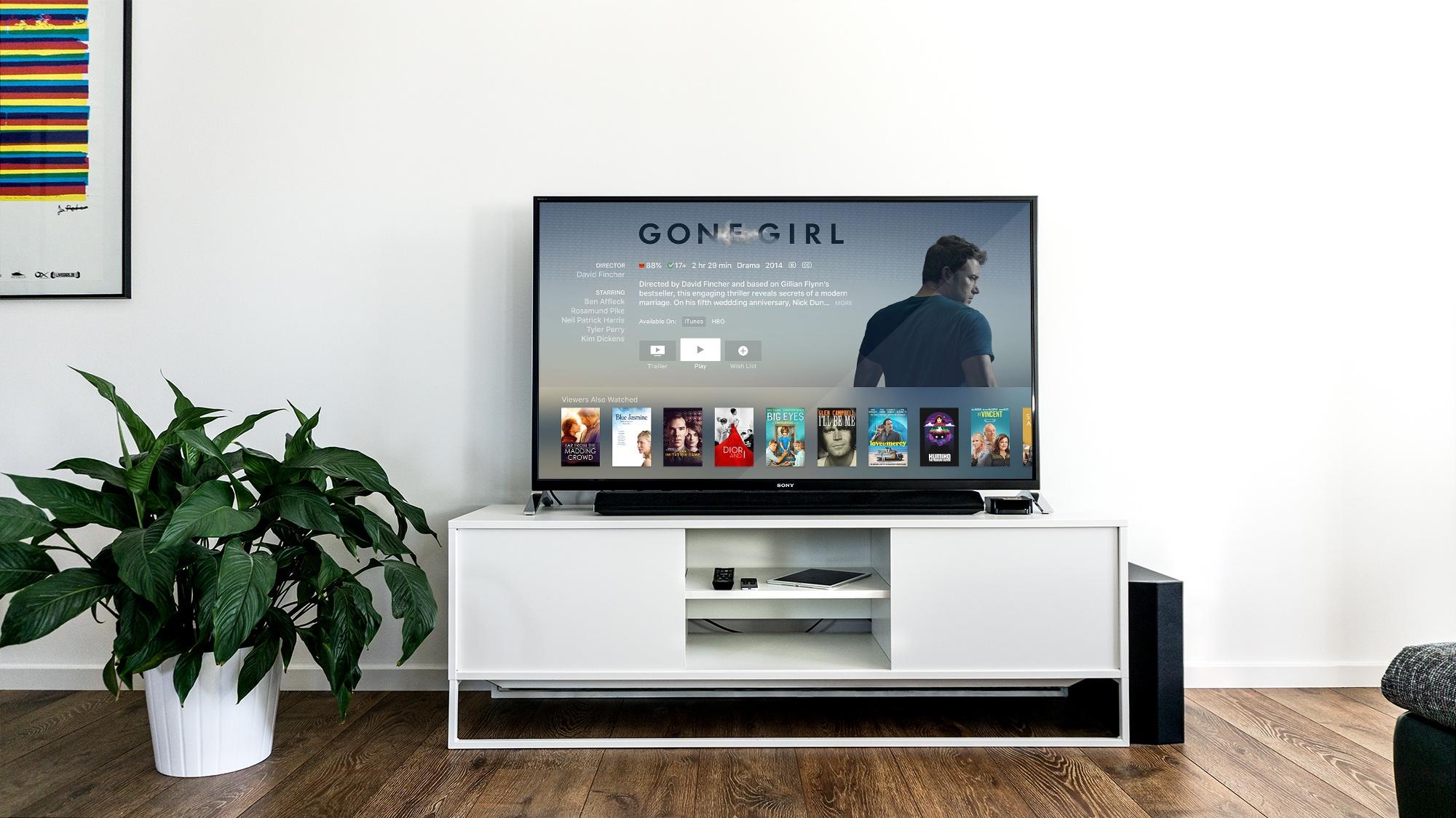 télévision sur un meuble