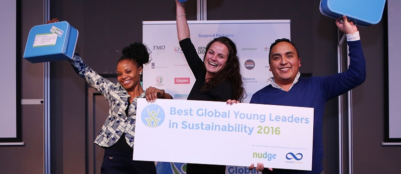 De winnaars van de titel 'Best Global Young Leaders in Sustainability 2016'