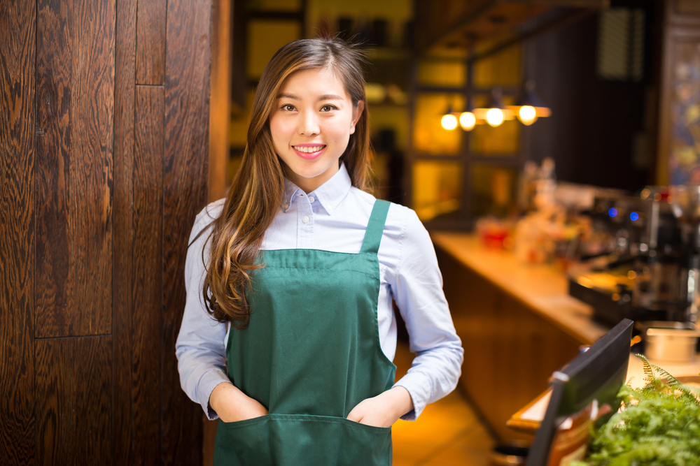 Girl working as barista