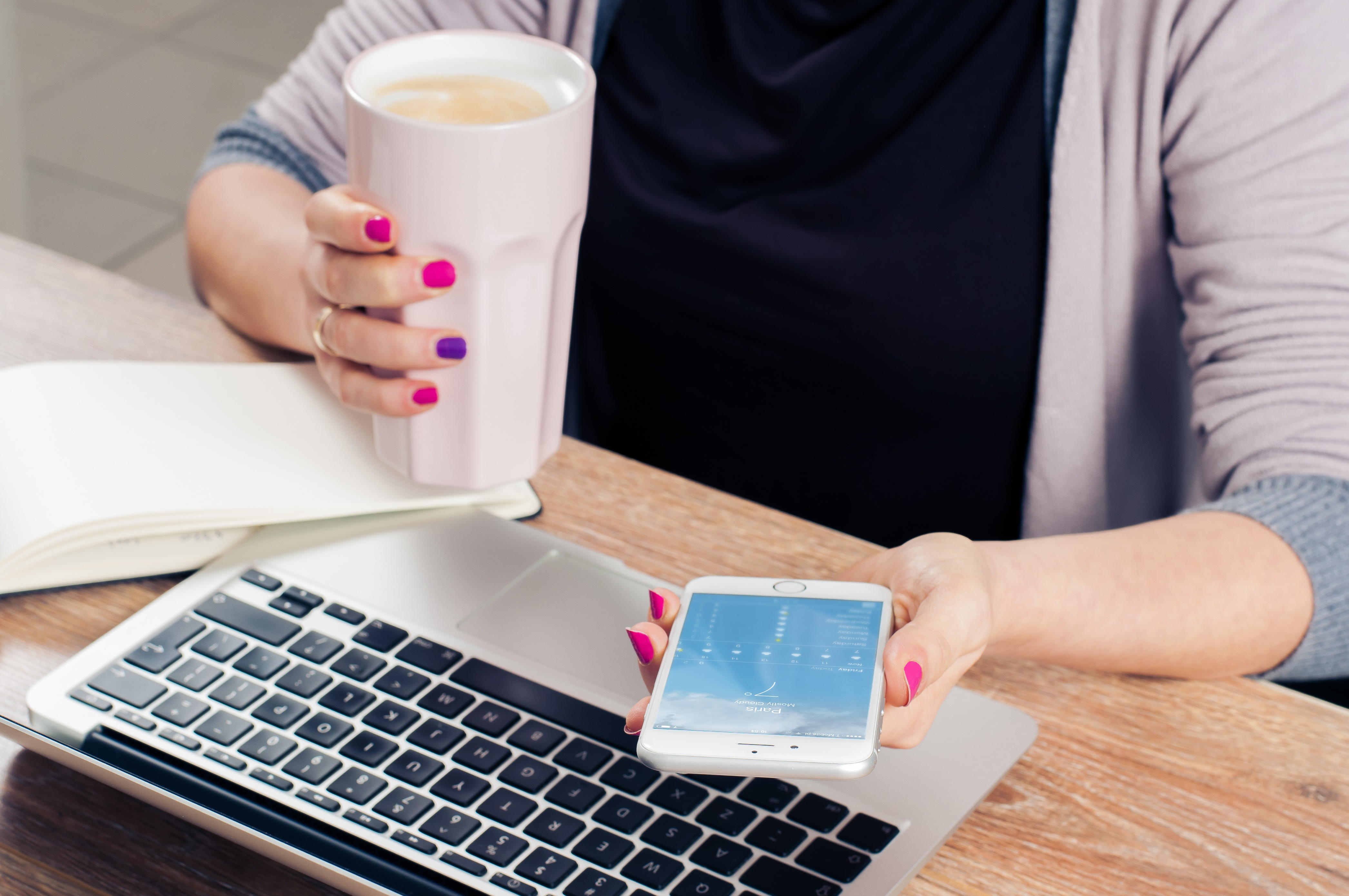 Girl using phone and drinking coffee