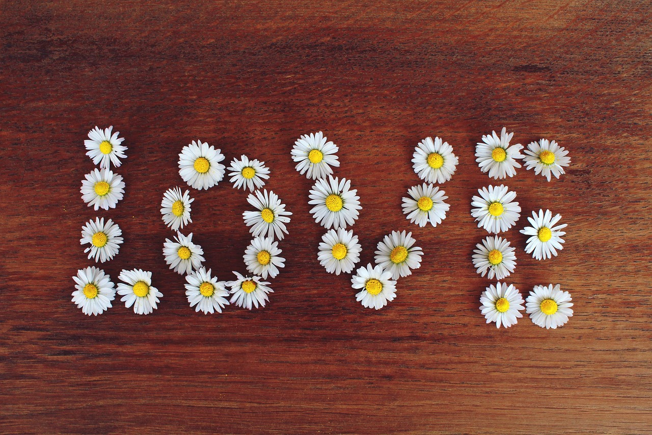 Flowers spelling love
