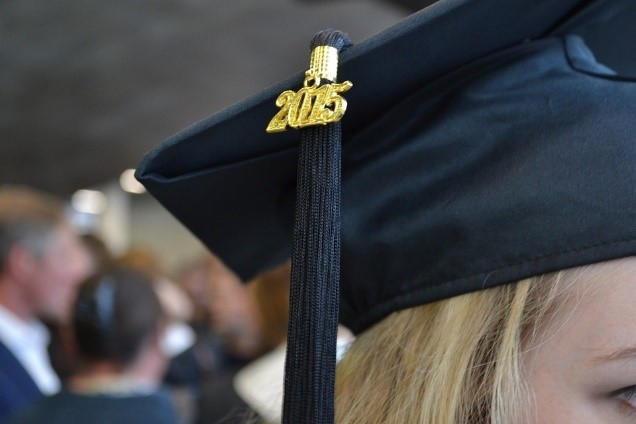 Girl wearing graduation cap